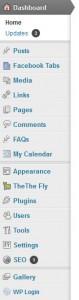 wordpress dashbord meny