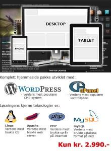 Nye hjemmesider utviklet i WordPress